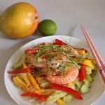 Garneļu un mango salāti ar sojas-laima mērci